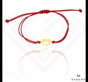 Bransoletka na czerwonym sznureczku SERDUSZKO stópki pr.585