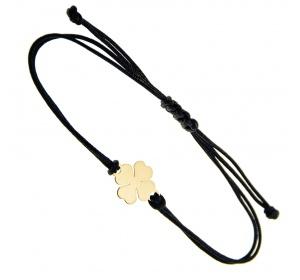 Bransoletka na czarnym sznurku z koniczynką pr.585