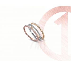 Srebrny pozłacany 925 pierścionek z cyrkoniami