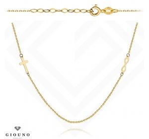 Złoty naszyjnik 585  KRZYŻYKI ZNAK NIESKOŃCZONOŚCI.
