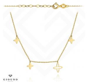 Złoty naszyjnik z kwiatkami łańcuszek ankier pr 585