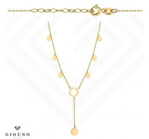 Złoty naszyjnik krawatka z kółeczkami pr 585