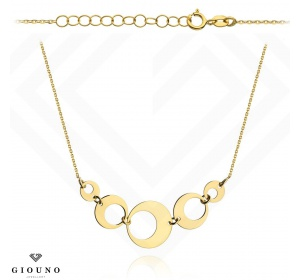 Złoty naszyjnik z kółkami łańcuszek ankier pr 585