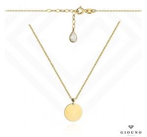 Złoty naszyjnik z pełnym kółeczkiem i białą cyrkonia pr 585
