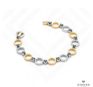 Bransoletka z brylantami żółte i białe złoto 12k czarne i białe brylanty
