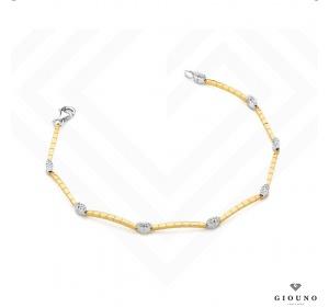 Bransoletka z brylantami z białego i żółtego złota 585