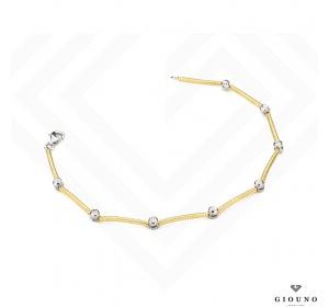Bransoletka z brylantami 0,08ct żółte i białe złoto 585