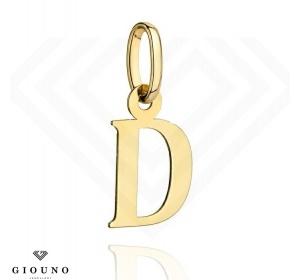 Złota literka D duża zawieszka pr 585
