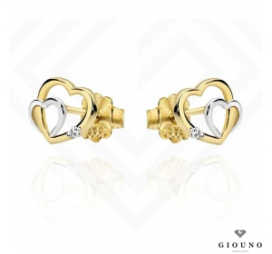 Złote kolczyki serduszka dwa kolory złota na sztyft 585