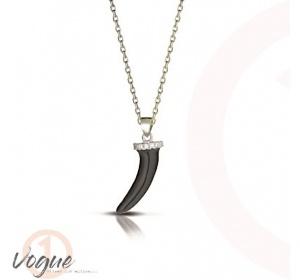 Srebrny łańcuszek z zawieszką czarny RÓG  na SZCZĘŚCIE 925