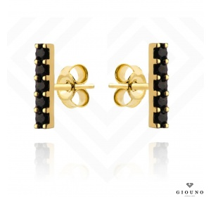 Kolczyki złote 585 na sztyft pałeczki z czarnych cyrkonii