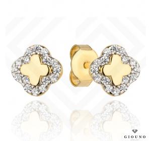Złote kolczyki 585 na sztyft koniczynka z cyrkoniami