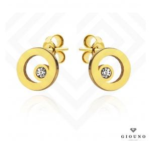Kolczyki złote 585 ring z cyrkonia na sztyft