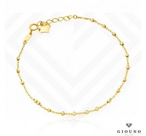 Złota bransoletka 585 na łańcuszku z kuleczkami