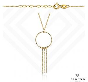 Naszyjnik kółeczko z łańcuszkami celebrytka złota pr 585