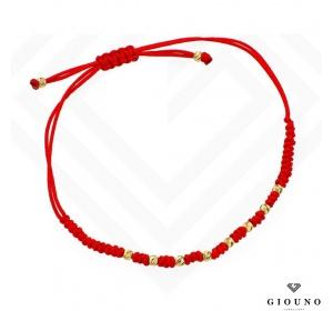 Bransoletka złota 585 na czerwonym sznurku DIAMENTOWANE KULKI