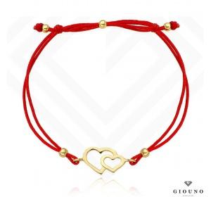 Złota bransoletka 585 na czerwonym sznurku DWA SERCA