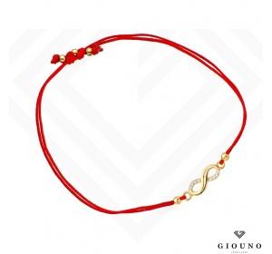 Bransoletka złota 585 na czerwonym sznurku NIESKOŃCZONOŚĆ