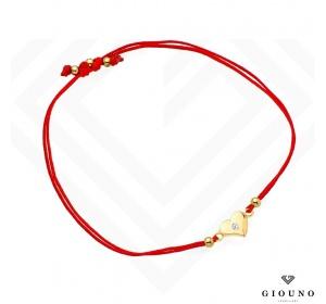 Bransoletka złota 585 na czerwonym sznurku SERDUSZKO