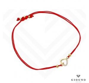 Bransoletka na czerwonym sznurku ZŁOTE SERDUSZKO pr 585