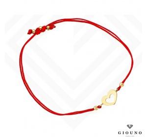 Bransoletka na czerwonym sznurku SERDUSZKO pr 585