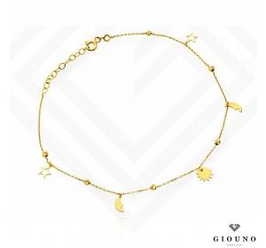 Bransoletka złota 585 na nogę gwiazdki księżyc słońce