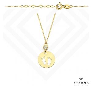 Złoty naszyjnik STÓPKI DZIECKA celebrytka złota pr 585