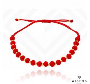 Bransoletka na czerwonym sznurku ZŁOTE KULKI pr 585