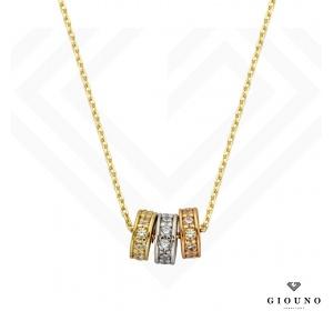 Naszyjnik złoty z zawieszkami w 3 kolorach złota pr 585