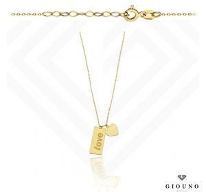 Złoty naszyjnik z blaszką i SERDUSZKIEM grawer pr 585