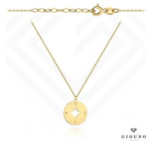 Złoty łańcuszek z zawieszką KOMPAS GWIAZDA POLARNA pr 585