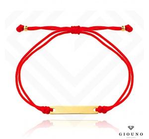 Bransoletka złota 585 na czerwonym sznurku z BLASZKĄ