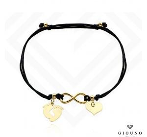 Bransoletka złota na czarnym sznurku SERCE i STÓPKI PR 585