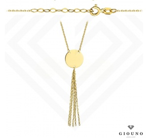 Złoty naszyjnik z zawieszka KÓŁECZKO i łańcuszki pr 585