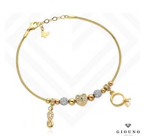 Złota bransoletka z zawieszkami PIERŚCIONEK serce znak nieskończoności pr 585