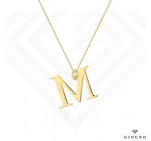 Złota literka M z brylantem na łańcuszku ankier pr 585