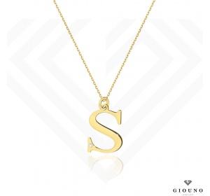 Złota literka S z brylantem na łańcuszku ankier pr 585
