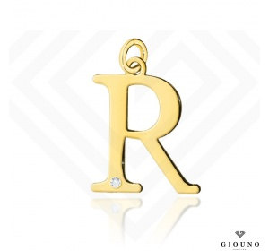 Złota literka 585 R z BRYLANTEM zawieszka DUŻA