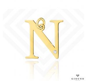 Złota literka 585 N z BRYLANTEM zawieszka DUŻA