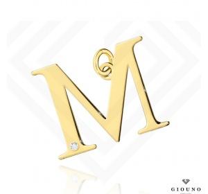 Złota literka 585 M z BRYLANTEM zawieszka DUŻA