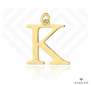 Złota literka 585 K z BRYLANTEM zawieszka DUŻA