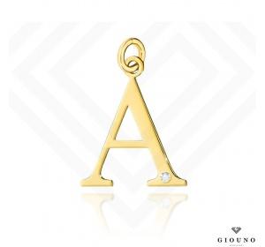 Złota literka 585 A z BRYLANTEM zawieszka DUŻA