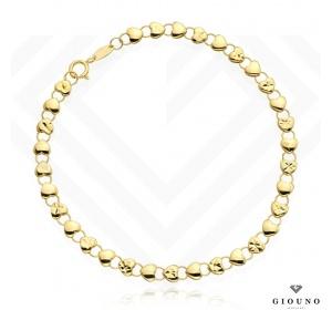 Bransoletka złota 585 splot z SERDUSZEK i KÓŁECZEK