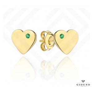 Złote kolczyki 585 SERDUSZKA na sztyft zielona cyrkonia