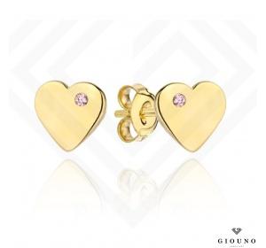 Złote kolczyki 585 SERDUSZKA na sztyft różowa cyrkonia