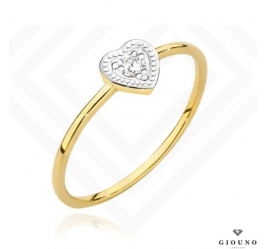 Złoty pierścionek z BRYLANTEM serduszko pr 585