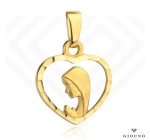 Złoty medalik 585 Matka Boża w serduszku zawieszka