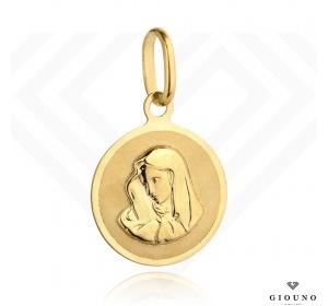 Złoty okrągły medalik 585 Matka Boska
