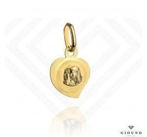 Złoty medalik 585 serduszko Matka Boska