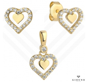 Kolczyki złote 585 serca na sztyft z zawieszką serce